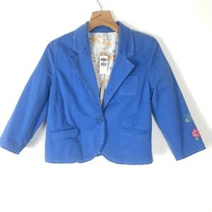 NWT Old Navy blue blazer embroidered stressed